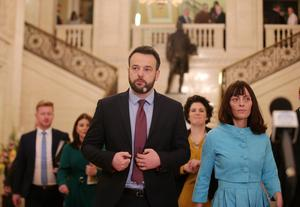 SDLP leader Colum Eastwood leads his party through the Great Hall at Parliament Buildings in east Belfast to enter the Assembly chamber.   Picture by Jonathan Porter/PressEye