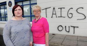 The Dunanney Centre in Rathcoole was subjected to a hate crime with graffiti being sprayed onto the walls. (L-R) Vickey Moore, Centre Manager and Pat Hutchinson, Chairman Of The Board.  Presseye.com