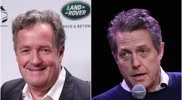 Piers Morgan taunted Hugh Grant after the exit poll indicated the Conservatives had won a decisive General Election victory (Jonathan Brady/Gareth Fuller/PA)