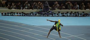 Jamaica's Usain Bolt celebrates winning the men's 100-meter final during the athletics competitions of the 2016 Summer Olympics at the Olympic stadium in Rio de Janeiro, Brazil, Sunday, Aug. 14, 2016. (AP Photo/Charlie Riedel)
