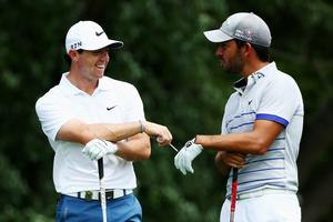 LOUISVILLE, KY - AUGUST 05: (L-R) Rory McIlroy of Northern Ireland and Pablo Larrazabal of Spain walk on a tee during a practice round prior to the start of the 96th PGA Championship at Valhalla Golf Club on August 5, 2014 in Louisville, Kentucky.  (Photo by Andy Lyons/Getty Images)