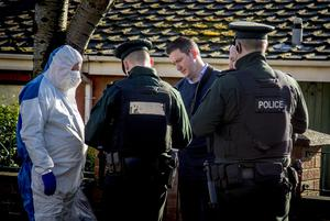 John Finucane at the scene as Police attend a bomb attack at the home of Martin Finucane in the Lenadoon area of west Belfast on February 20th 2020 (Photo by Kevin Scott for Belfast Telegraph)