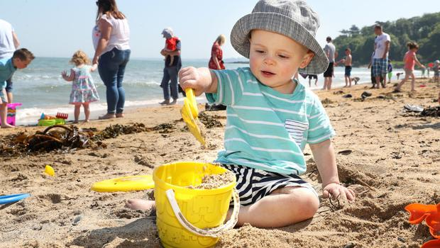 Press Eye - Crawfordsburn Beach - Weather Pictures - 28th May 2018 Photograph by Declan Roughan  PHOTOGRAPH TAKEN WITH PARENTAL PERMISSION  Tom Wade aged 18 months from Belfast.