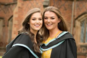 Ciara Coney (L) and Jane Eastwood are both celebrating after graduating from Queen's University Belfast with a BSc in Computing and Information Technology.
