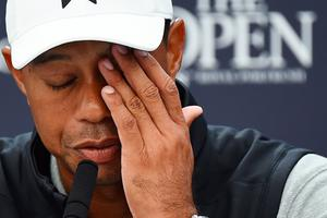 US golfer Tiger Woods takes part in a press conference at The 148th Open golf Championship at Royal Portrush golf club in Northern Ireland on July 16, 2019. (Photo by ANDY BUCHANAN / AFP) / RESTRICTED TO EDITORIAL USEANDY BUCHANAN/AFP/Getty Images