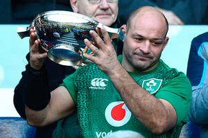 Ireland's hooker Rory Best holds aloft the Centenary Quaich trophy after winning the Six Nations international rugby union match between Scotland and Ireland at Murrayfield in Edinburgh, Scotland on Febuary 9, 2019. - Ireland won the match 22-13. (Photo by ANDY BUCHANAN / AFP)ANDY BUCHANAN/AFP/Getty Images