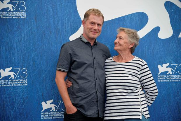 "Actor Andreas Lust (L) and actress Ingrid Burkhard attend a photocall of the movie ""Die Einsiedler"" (The Eremites) presented in the Orizzonti selection at the 73rd Venice Film Festival on September 2, 2016 at Venice Lido.TIZIANA FABI/AFP/Getty Images"