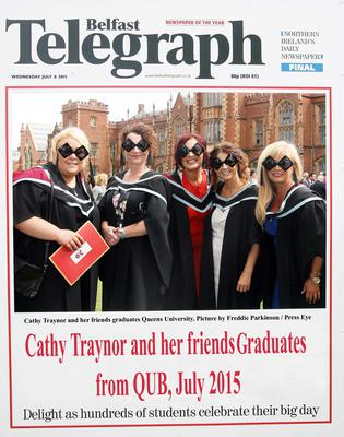 Mandatory Credit - Picture by Freddie Parkinson/Press Eye ? Wednesday 8th July 2015 Graduations Queen University Belfast. Cathy Traynor from Belfast and her friends graduated at Queens University Belfast in Social Work.
