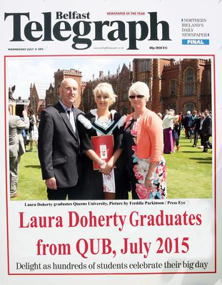 Mandatory Credit - Picture by Freddie Parkinson/Press Eye ? Wednesday 8th July 2015 Graduations Queen University Belfast. Laura Doherty from Larne graduated at Queens University Belfast in Sociology.