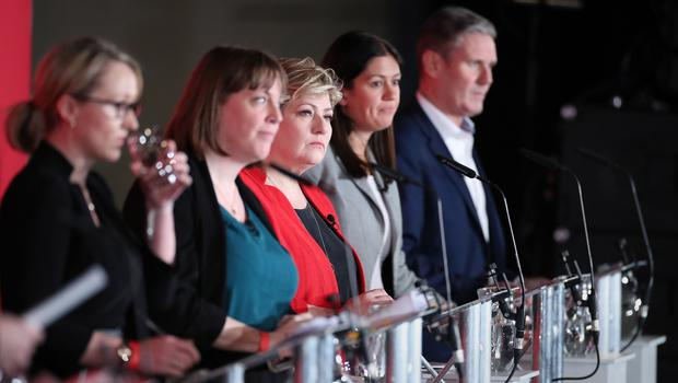From left to right, Rebecca Long-Bailey, Jess Phillips, Emily Thornberry, Lisa Nandy and Sir Keir Starmer during the Labour leadership hustings at the ACC Liverpool (Danny Lawson/PA)