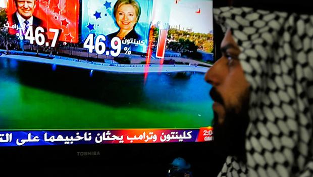 An Iraqi man follows the US presidential elections on television at his home in Baghdad on November 8, 2016.  Almost half the population of the Middle East and North Africa would abstain if given the right to vote in the US presidential election, an opinion poll revealed on November 3.   / AFP PHOTO / SABAH ARARSABAH ARAR/AFP/Getty Images