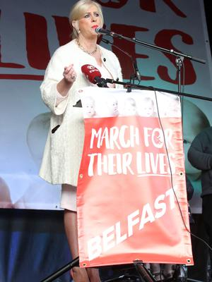 Press Eye - Belfast - Northern Ireland - 7th September 2019 -   March For Their Lives rally which has been organised by Precious Life in Belfast City Centre. Photo by Declan Roughan / Press Eye.  Bernadette Smyth, from the anti-abortion group speaking in Custom House Square.