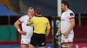 Referee Craig Evans red cards Ulster centre Will Addison (INPHO/James Crombie)
