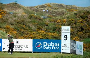 NEWCASTLE, NORTHERN IRELAND - MAY 28:  Bernd Wiesberger of Austria tees off during the First Round of the Dubai Duty Free Irish Open Hosted by the Rory Foundation at Royal County Down Golf Club on May 28, 2015 in Newcastle, Northern Ireland.  (Photo by Andrew Redington/Getty Images)