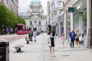 General view of Belfast city centre street as it remains quiet.  Photo by Philip Magowan / Press Eye