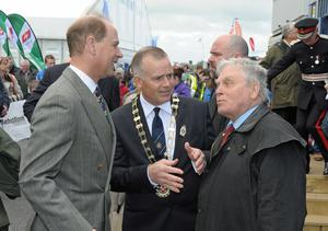 Earl of Wessex at Balmoral Show Day 1 at the new Balmoral Park site on the former Maze prison site. HRH Prince Edward is pictured during a tour of the show with RUAS President John Bamber. Photo by Simon Graham/Harrison Photography.