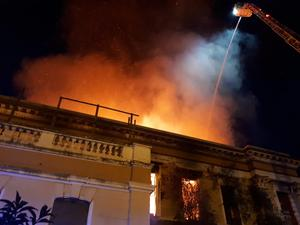 Scene of the fire at Crumlin Road Courthouse in Belfast (Northern Ireland Fire and Rescue Service/PA)