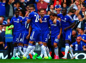 LONDON, ENGLAND - SEPTEMBER 19:  Eden Hazard (2nd R) of Chelsea celebrates scoring his team's second goal with his team mates during the Barclays Premier League match between Chelsea and Arsenal at Stamford Bridge on September 19, 2015 in London, United Kingdom.  (Photo by Ian Walton/Getty Images)