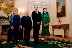 The Duke and Duchess of Cambridge meet with the President of Ireland, Michael D. Higgins and his wife Sabina Coyne at Aras an Uachtarain, Dublin, during their three day visit to the Republic of Ireland. PA Photo. Picture date: Tuesday March 3, 2020. See PA story ROYAL Cambridge. Photo credit should read: Phil Noble/PA Wire