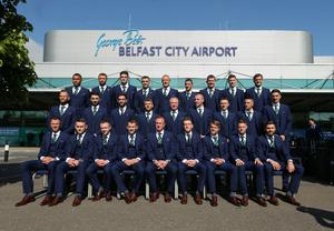 Members of the Northern Ireland football squad join Manager Michael O'Neill as they leave Northern Ireland from George Best Belfast City Airport to take part in a training camp in Austria in advance of the 2016 Euros. Picture by Kelvin Boyes / Press Eye.