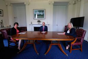 An Taoiseach Micheal Martin meets First Minister Arlene Foster and Deputy First Minister Michelle O'Neill at Stormont Castle in Belfast, Northern Ireland. PA Photo.