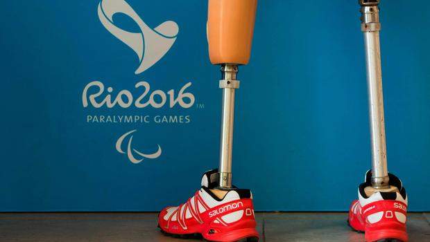 Athlete wears prosthetic legs at the Paralympic Village during the Paralympic Games in Rio de Janeiro, Brazil, on September 6, 2016. Photo by: Al Tielemans /OIS/IOC via AFP.  RESTRICTED TO EDITORIAL USE. / AFP PHOTO / OIS/IOC / Al Tielemans for OIS/IOCAL TIELEMANS FOR OIS/IOC/AFP/Getty Images