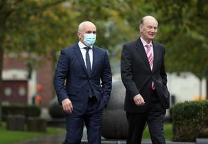 Former world champion and boxing promoter, Barry McGuigan arrives at Belfast High court this morning for the legal action involving Carl Frampton who is suing McGuigan's Cyclone Promotions for £6 million. Photo Stephen Davison/Pacemaker Press