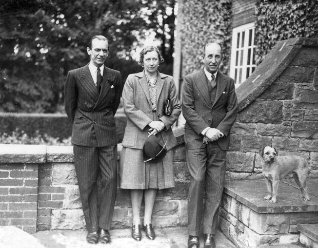 Sir Malcolm Sargent, Conductor of the Liverpool Philharmonic Orchestra, with his hosts, the P.M., Lord Brookeborough, and Lady Brooke, at Stormont.  24/6/1947