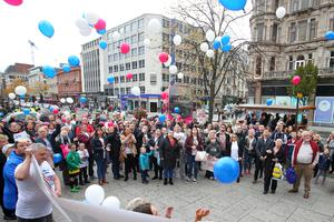 Mental health march in Belfast city centre organised by campaigner Philip McTaggart, who lost his son Philip to suicide in 2003. Pic Jonathan Porter/Presseye