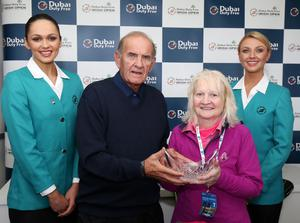 26 May 2015 -   Picture by Darren Kidd / Press Eye.   2015 Dubai Duty Free Irish Open:  Dubai Duty Free Irish Open Pro-Am Hosted by the Rory Foundation at Royal County Down Golf Club, Newcastle, Northern Ireland. Colm McLoughlin - Executive Vice Chairman, Dubai Duty Free presents Kate Docherty with her award for the longest  drive