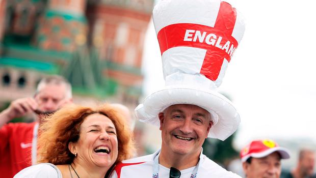 England fans in Red Square ahead of the FIFA World Cup, Semi Final match at the Luzhniki Stadium, Moscow. PRESS ASSOCIATION Photo. Picture date: Wednesday July 11, 2018. See PA story WORLDCUP Croatia. Photo credit should read: Aaron Chown/PA Wire. RESTRICTIONS: Editorial use only. No commercial use. No use with any unofficial 3rd party logos. No manipulation of images. No video emulation.