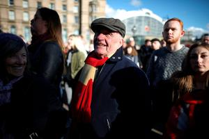 LIVERPOOL, ENGLAND - APRIL 27:  Thousands of people gather outside Liverpool's Saint George's Hall as they attend a vigil for the 96 victims of the Hillsborough tragedy on April 27, 2016 in Liverpool, England. The civic commemoration event marks the outcome of the fresh inquests into the 1989 Hillsborough disaster, in which 96 football supporters were crushed to death, and concluded yesterday with a verdict of unlawful killing. Relatives, Liverpool supporters and members of the public are taking part in the vigil at St George's Hall where a candle is lit for each of the 96 victims who lost their lives during a crush at the Hillsborough football ground in Sheffield, South Yorkshire in 1989. (Photo by Christopher Furlong/Getty Images)