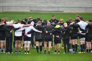 Ulster have a minute silence in memory of Nevin Spence and Anthony Foley  during the Captains run ahead of Ulster's European Rugby Champions Cup game against Exeter Chiefs at the Kingspan Stadium in Belfast on Saturday evening. Pic Colm Lenaghan/Pacemaker