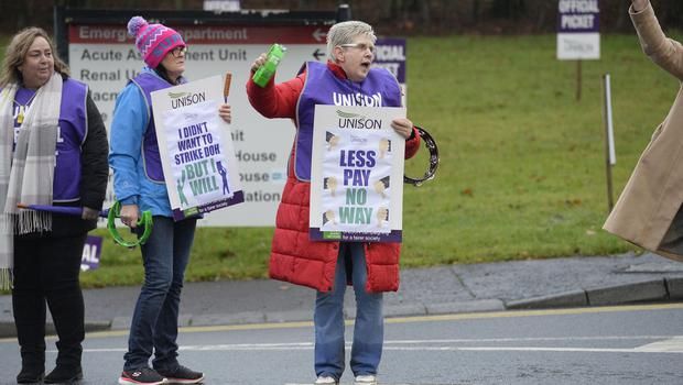 The picket line at Antrim Area hospital as UNISON members across the health and social services system take industrial action.