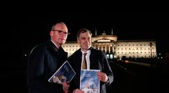 Irish Foreign Affairs minister Simon Coveney and Secretary of State for Northern Ireland Julian Smith parade the deal for the press. Pic: Niall Carson/PA Wire