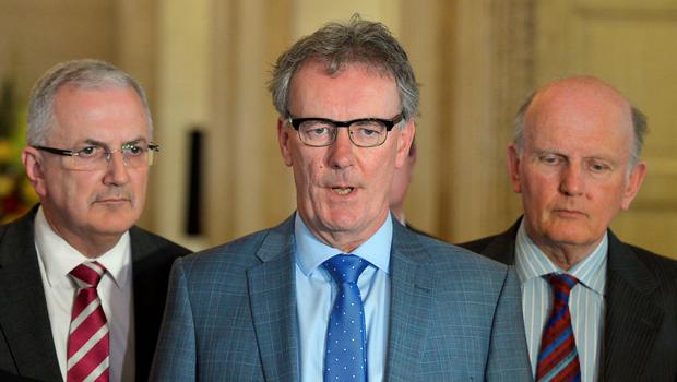 BELFAST, NORTHERN IRELAND - SEPTEMBER 10:  Ulster Unionist party leader Mike Nesbitt (2nd L) answers questions during a press conference at Stormont on September 10, 2015 in Belfast, Northern Ireland. A political crisis has erupted in the province following the murder of former IRA member Kevin McGuigan Sr last month. The Police Service of Northern Ireland stated that they believed there was IRA involvement in the killing of one of it's former members. The Democratic Unionist Party had said that if the Northern Ireland Executive goverment was not adjourned or suspended until a thorough investigation into any IRA involvement has been concluded that their ministers will stand down. DUP leader and Northern Ireland First Minister stepped down from his role following Thursday's turmoil. Sinn Fein has denied IRA involvement in the the murder and refuted that the IRA still exists.  (Photo by Charles McQuillan/Getty Images)