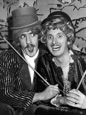 The Two Ugly Sisters, Iasbella (Peter Kennedy) and Amy (Michael McDowell) in Cinderella.  31/12/1982