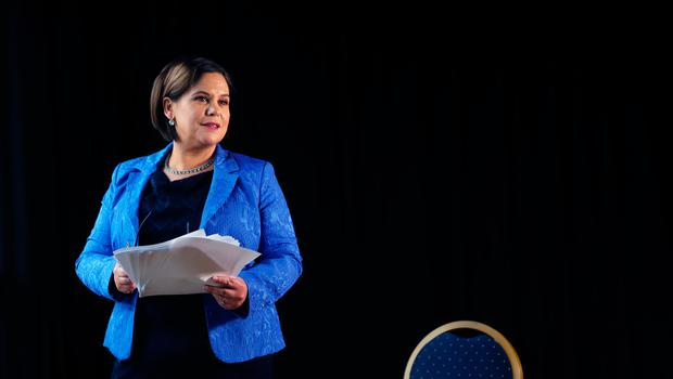 Sinn Fein President Mary Lou McDonald ahead of delivering her keynote speech during her party's ard fheis at the Millennium Forum in Londonderry