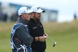 Press Eye - Belfast - Northern Ireland - 9th July 2017   Day four of the Dubai Duty Free Irish Open Hosted by the Rory Foundation at Portstewart Golf Club, Co.Derry / Co. Londonderry, Northern Ireland.  Shane Lowry on the 18th green  Picture by Matt Mackey / presseye.com
