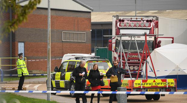 Police believe the 39 people found dead in a lorry in Grays, Essex, are Vietnamese nationals (Stefan Rousseau/PA)