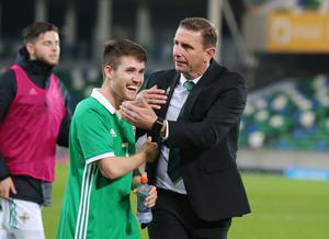 Stepping up: Ian Baraclough with Paul Smyth during his time as Northern Ireland Under-21 manager