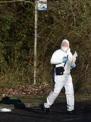 Pacemaker Press 17/01/2020 Forensics at the scene at the Lake Road in Craigavon on Friday. A 40-year-old man has been arrested on suspicion of a murder in Craigavon, County Armagh. The Police Service of Northern Ireland (PSNI) said a murder investigation was launched after the body of a 25-year-old man was found in the Lake Road area on Thursday night. A post-mortem examination will be conducted. Pic Colm Lenaghan/Pacemaker