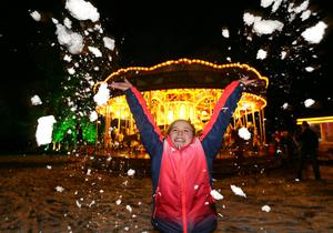 PACEMAKER, BELFAST, 9/12/2017: Teal-Bella Alexander from Bangor has fun in the snow at the Enchanted Winter Garden which opened on Saturday in Antrim's Castle Gardens. The annual Christmas event is now in it's fifth season. Enchanted Winter Garden is running to 20 December in Antrim Castle Gardens, Antrim. For event information and tickets visit www.enchantedwintergarden.com PICTURE BY STEPHEN DAVISON