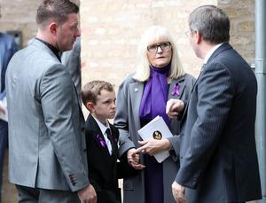 Funeral of Aundrea Bannatyne - Ease Belfast Mission - 21st August 2017 (L-R) Aundrea's brother Aaron, son James, mother Lorraine and father Richard. 