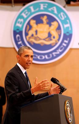 BELFAST, UNITED KINGDOM - JUNE 17:  U.S. President Barack Obama delivers a keynote address at the Waterfront Hall ahead of the G8 Summit on June 17, 2013 in Belfast, Northern Ireland. Later The President will join other leaders at the G8 Summit in Fermanagh.  (Photo by Paul Faith - WPA Pool/Getty Images)