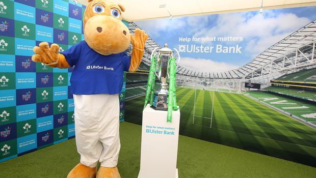 Press Eye - Belfast - Northern Ireland - 16th May 2018  First day of the 2018 Balmoral Show, in partnership with Ulster Bank, at Balmoral Park.  Ulster Bank has the NatWest Six Nations trophy at its stand over the four days of this yearÕs Balmoral Show. Visitors to the show today had the chance to have their photo taken with the trophy which Ireland claimed this year as part of their Grand Slam success. Pictured with the trophy is Ulster Bank Henry The Hippo   Picture by Jonathan Porter/PressEye