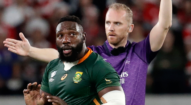 Talking point: referee Wayne Barnes yellow cards South Africa's Tendai Mtawarira who was lucky to escape a red