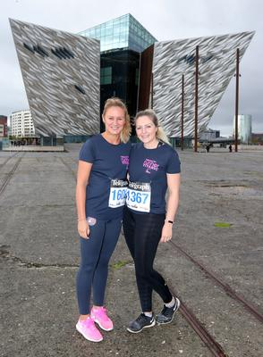Press Eye Belfast - Northern Ireland 10th September 2017  Pure Running's and The Belfast Telegraph's RunHer Titanic 5k and 10k race in the Titanic Quarter of Belfast.   Left to right.  Jenny Shaw and Kim De Meillon from Jordanstown   Picture by Jonathan Porter/PressEye.com