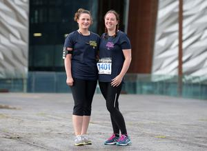Press Eye Belfast - Northern Ireland 10th September 2017  Pure Running's and The Belfast Telegraph's RunHer Titanic 5k and 10k race in the Titanic Quarter of Belfast.   Left to right.  Lyndsey Blair and Catherine Gardner from Bangor   Picture by Jonathan Porter/PressEye.com