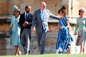 Pippa Middleton (left) and James Matthews (second left) arrive at St George's Chapel at Windsor Castle for the wedding of Meghan Markle and Prince Harry. PRESS ASSOCIATION Photo. Picture date: Saturday May 19, 2018. See PA story ROYAL Wedding. Photo credit should read: Chris Jackson/PA Wire